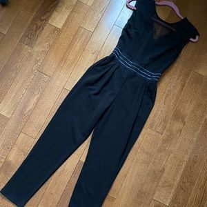 Sheer mesh panel jumpsuit